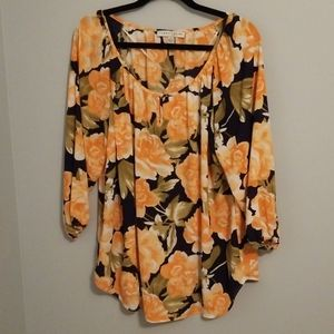 Larry Levine 3/4 Sleeve Floral Blouse